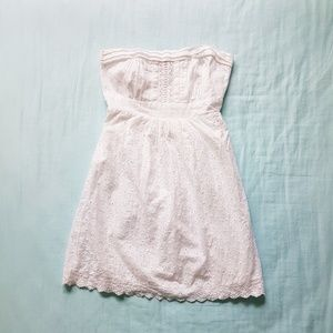 American Rag White Flower Eyelet Strapless Dress S